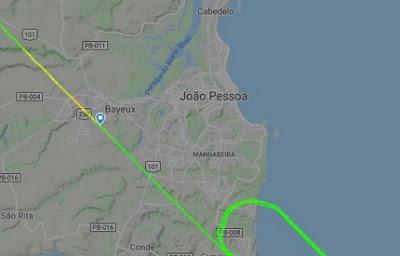 Avião fica sem condições de pouso e sobrevoa João Pessoa por 30 minutos até conseguir pousar no Aeroporto Castro Pinto em Bayeux/PB
