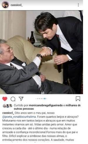 """OITO ANOS SEM RONALDO – Cássio posta homenagem ao pai : """"Maior do que a saudade é o orgulho e a gratidão que sinto. E isso acalma a alma"""""""